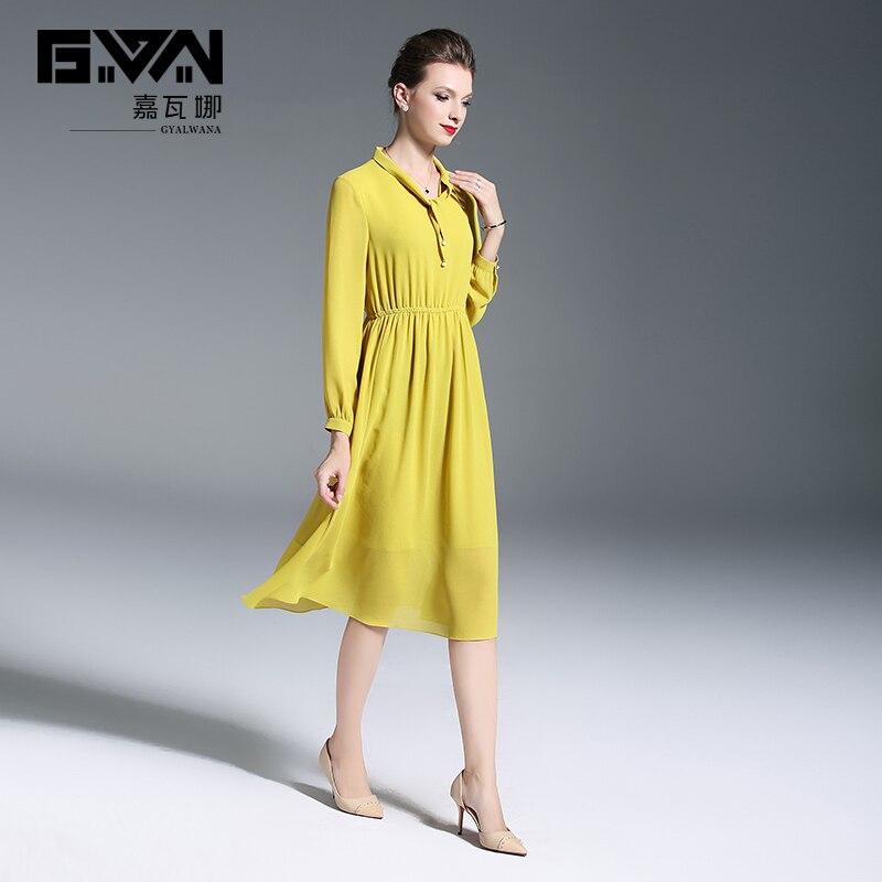 Col Élastique Longues Robe Manches Femmes Dames Vêtements Yellow Nouveau Automne En Mode Taille Jaune Mousseline Robes Soirée De Style Élégantes Arc Soie vgnw8