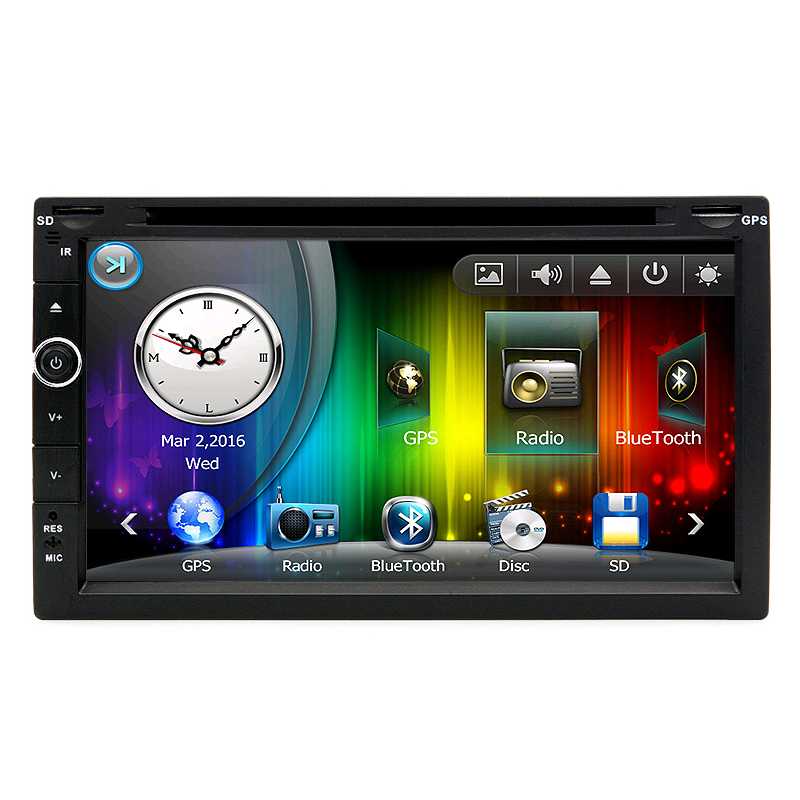 7 inch Universal 2 din Car DVD Player Radio stereo GPS Navigation with Bluetooth touch screen RDS support TV function joyous j 2611mx 7 touch screen double din car dvd player w gps ipod bluetooth fm am radio rds