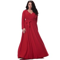 Kadınlar kırmızı uzun dress artı boyutu 6xl tam kollu derin v boyun waisted noel dress kat uzunluk törenlerinde vestidos de dresses longo