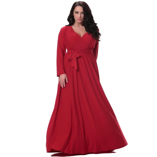 Women Red Long Dress Plus Size 6xl Full Sleeve Deep V Neck Waisted  Christmas Dress Floor Length Gowns Vestidos De Festa Longo