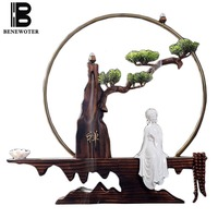Creative Ceramic Beauty Incense Burner Home Art Decoration Wooden Rockery Base Aromatic Censer Office Adornment Crafts for Gifts