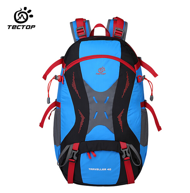 TECTOP Waterproof Nylon Mountaineering Bag 40L Camping Hiking Backpack Rucksack Large Capacity Outdoor Sport Travel Shoulder Bag