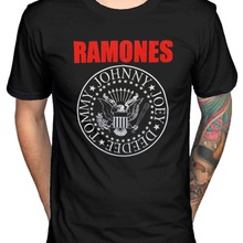 e74dcee8 Official Ramones Red Text Seal Logo T-Shirt Road To Ruin Rocket To Russia(