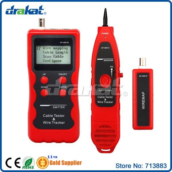 Testeur de suivi de fil LCD multifonctionnel avec ports USB RJ45 RJ11 BNC (NF-868)
