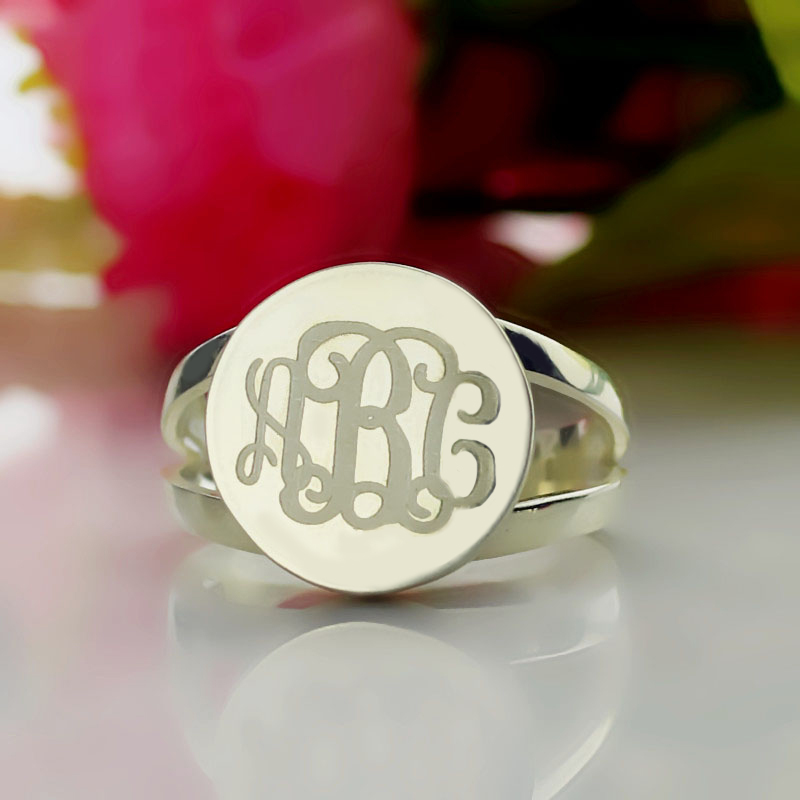 Signet Monogram Ring 925 Sterling Silver Personalized Engraved Initial Disc Retro Monogr ...