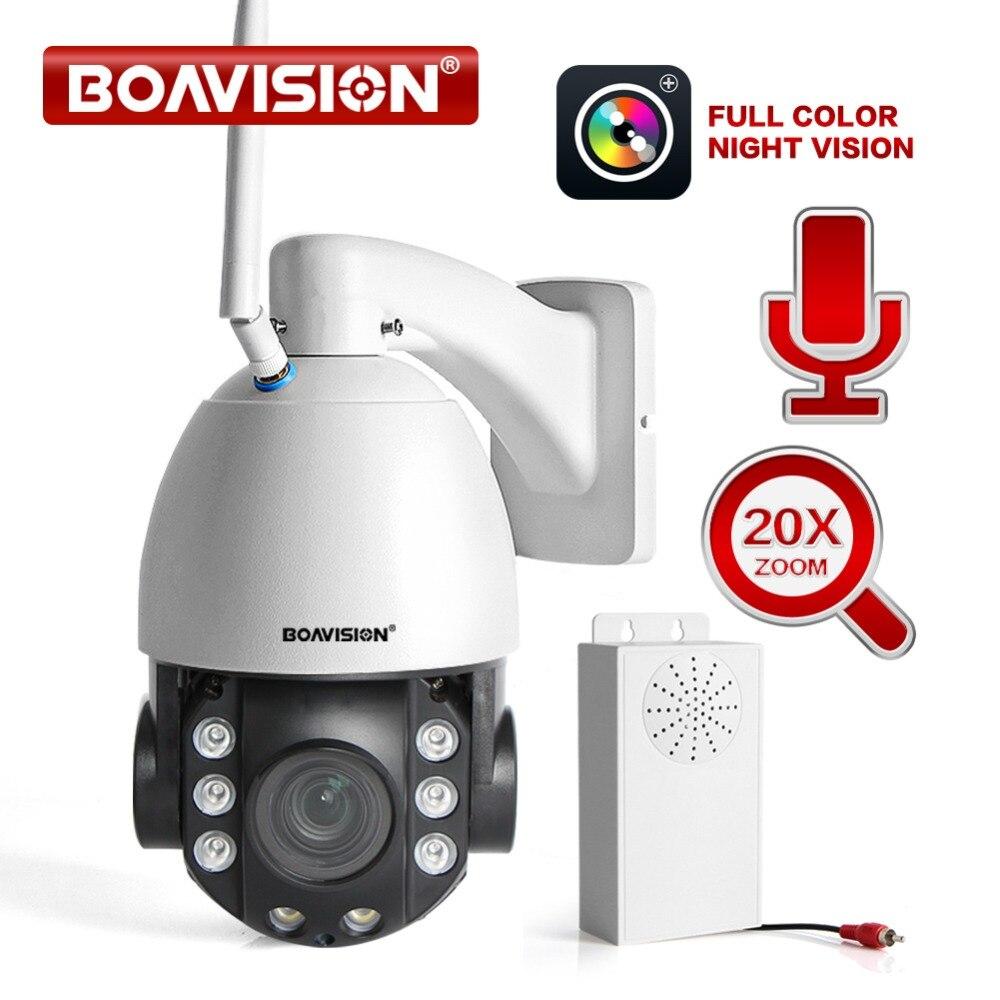 2019 del NUOVO HD 2MP Senza Fili PTZ Dome IP Cam WIFI 20X Ottico Zoom di Sicurezza Esterna Video CCTV Cam A Due Vie audio Luce Bianca 80 M IR