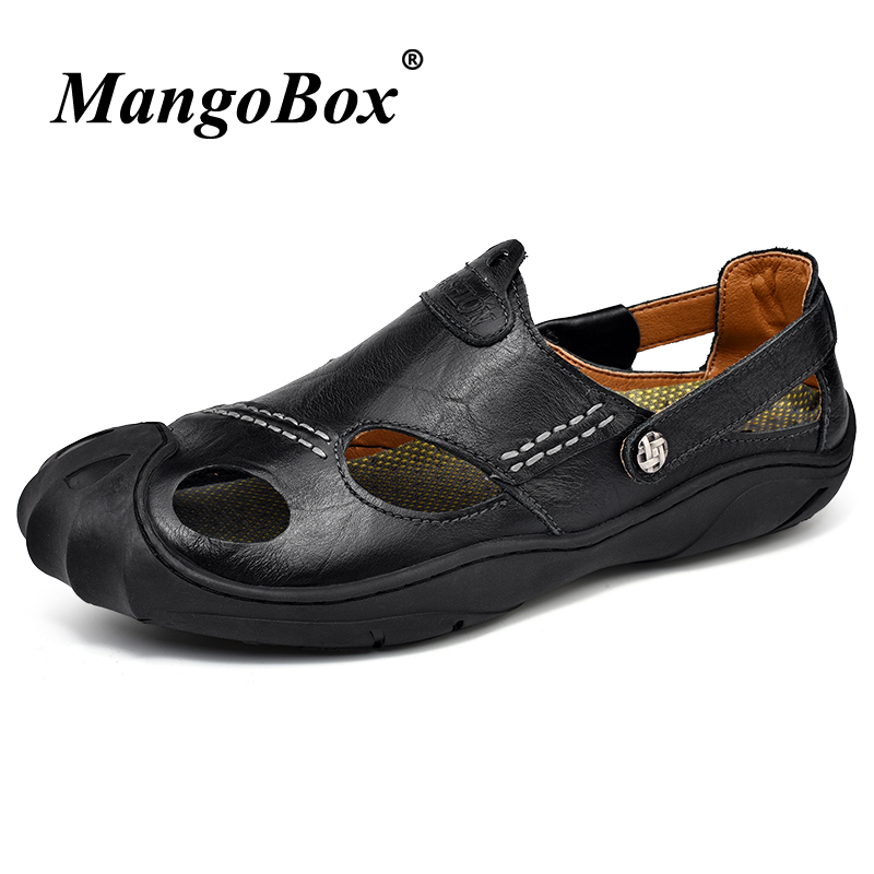 2018 Man Sandals Large Size 38-46 Men Casual Shoes Black Brown Outdoor Footwear Male Leather Anti-slip Flat Sandals for Men