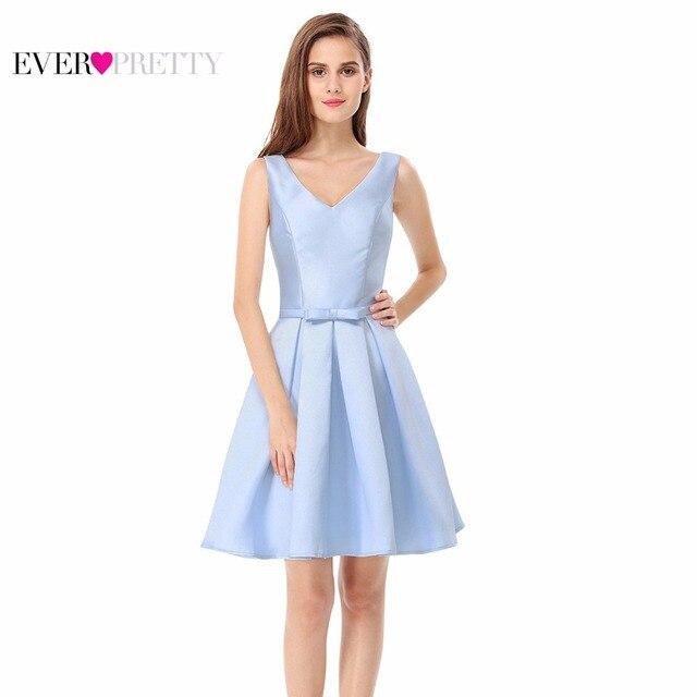 Cocktail Dress Ever Pretty EP05564BL Blue Women Elegant V-Neck Sleeveless Short Cocktail Dress 2017