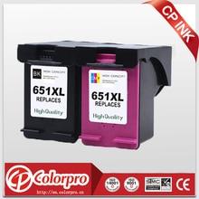 Wholesale 2PK(BK/C) For HP 651XL 651 Ink Cartridge for HP Deskjet ink Advantage 5575/5645 All in one /HP officejet 202 printer