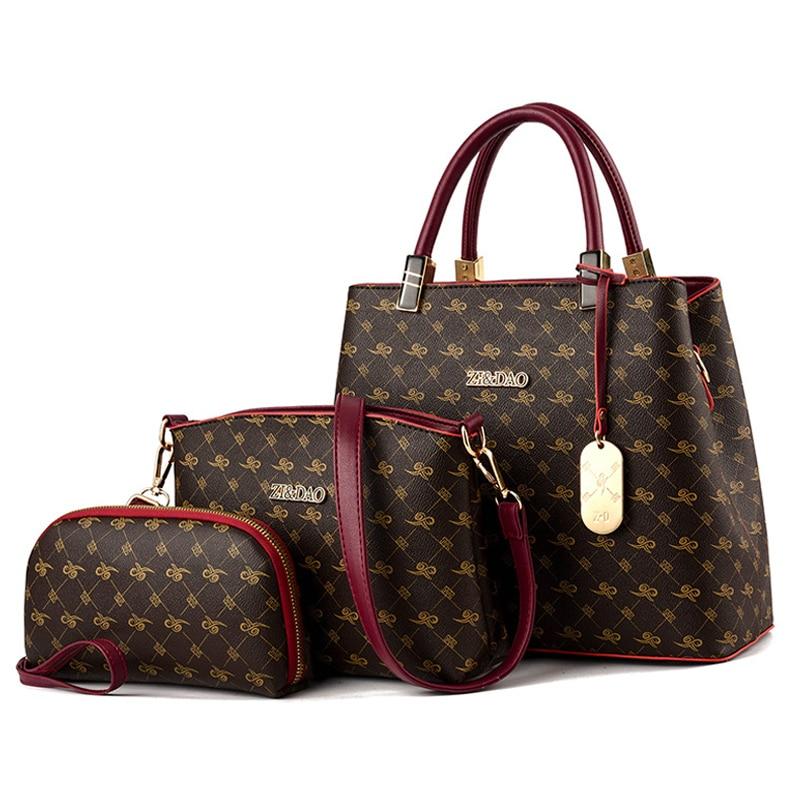 3 pièces femmes sacs ensemble en cuir sac à main nouveau femmes fourre-tout sac dames sacs à main sac à bandoulière pour femmes 2019 luxe Messenger sac Bolsas
