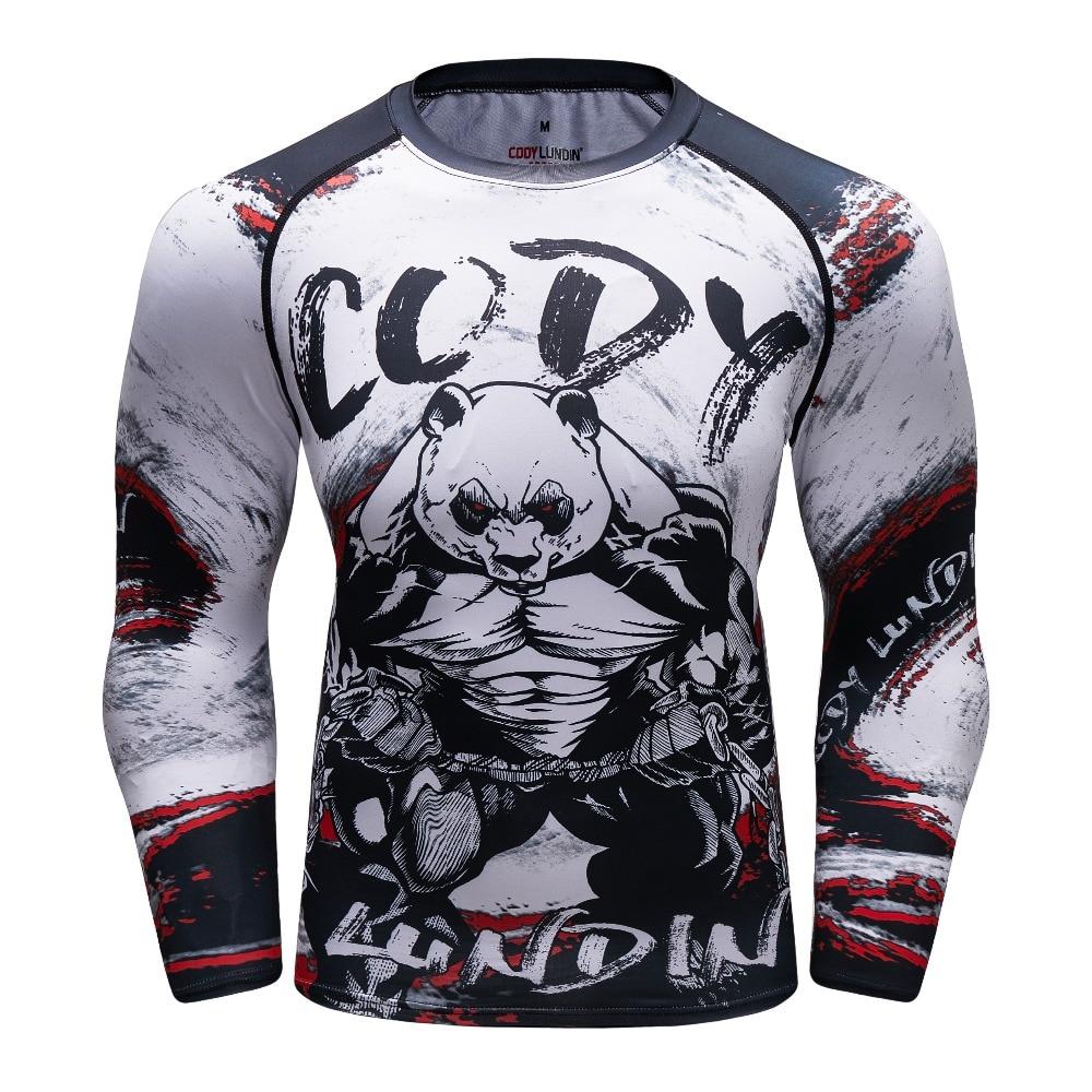 Männer Gorilla Kompression Shirt Rash Guard Langarm BJJ Tops T Shirt 3D Druck Turnhallen Fitness Bodybuilding Strumpfhosen MMA T hemd