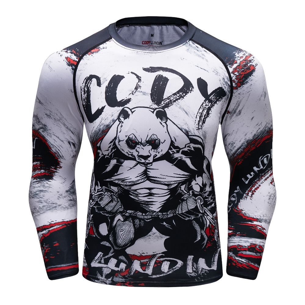 Men Gorilla Compression Shirt Rash Guard Long Sleeve BJJ Tops T Shirt 3D Print Gyms Fitness Bodybuilding Tights MMA Tee Shirt