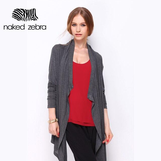 NAKED ZEBRA Woman Autumn Coats Grey Full Sleeve Irregular Length Open Stitch Clothing Lady Leisure Warming Thin Cardigan Coat