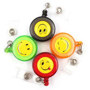 Image 1 - 30pcs/lot Smiling Face Retractable Pull Key ID Card Clip ID Badge Lanyard Name Tag Card Holder School Office Company Papelaria