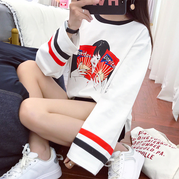 Camisetas Partes Superiores das mulheres Kawaii Japonês Senhoras Harajuku Ulzzang Bf Solta T-shirt de Impressão Dos Desenhos Animados do Sexo Feminino Coreano Roupas Para As Mulheres