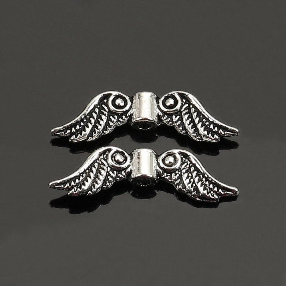 Doreenbeads розница 50 старинное серебро подвеска в форме ангельских крыльев Распорки бисер 23×7 мм
