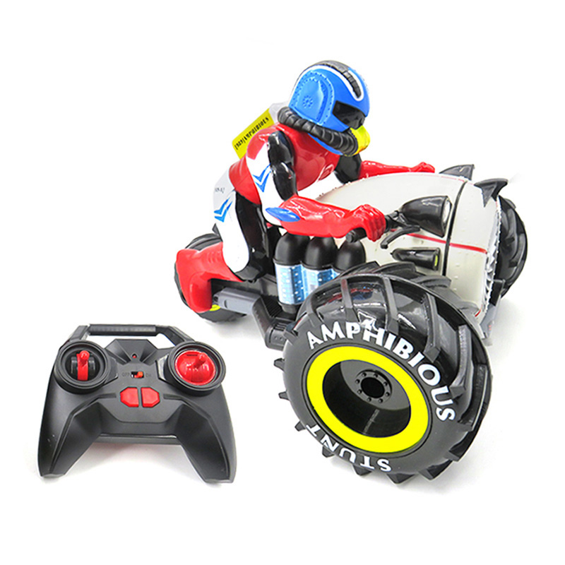 2018 New Remote Control Toys Amphibious 4WD 360 Degree Rolling Stunt RC Motorcycle Toy For Children High Speed With LED Light