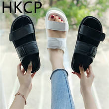 HKCP 2019 new summer slippers solid color hook loop womens shoes thick flat with wild open toe sandals C432