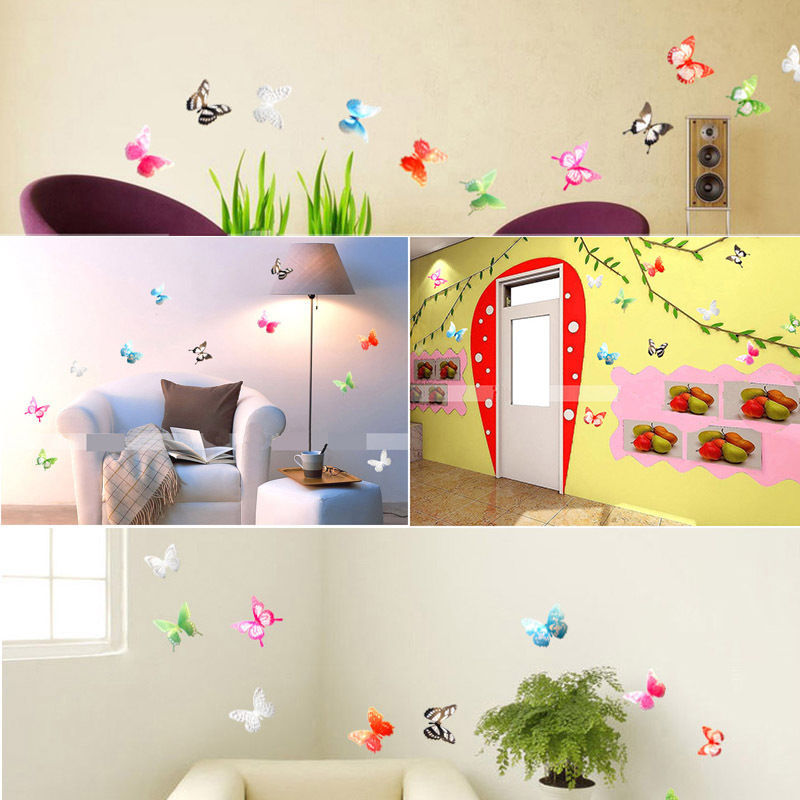 Good 18 Pieces 3D Butterfly Crystal Transparent Decor Sticker Home Decoration  Accessories Wall Art For Kids Rooms Decals New In Wall Stickers From Home U0026  Garden ...