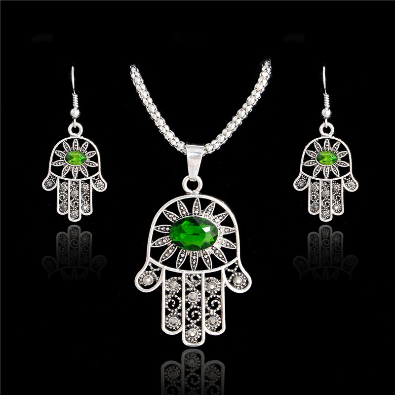 SHUANGR Christmas gifts Austrian Crystal Flower on Hand Silver Color green crystsal Necklace Earrings Hand Jewelry