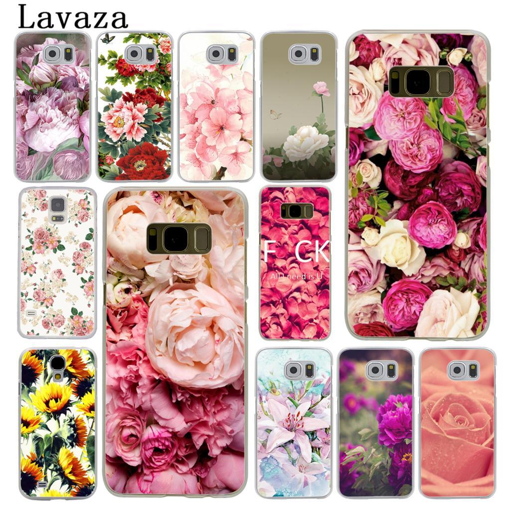 Sunflowe Lavaza Pink Peony Rose Plantas Margarida Flor de Cerejeira Caixa Do Telefone para Samsung Galaxy S10 E S10E S8 S9 Plus s6 S7 Tampa Borda