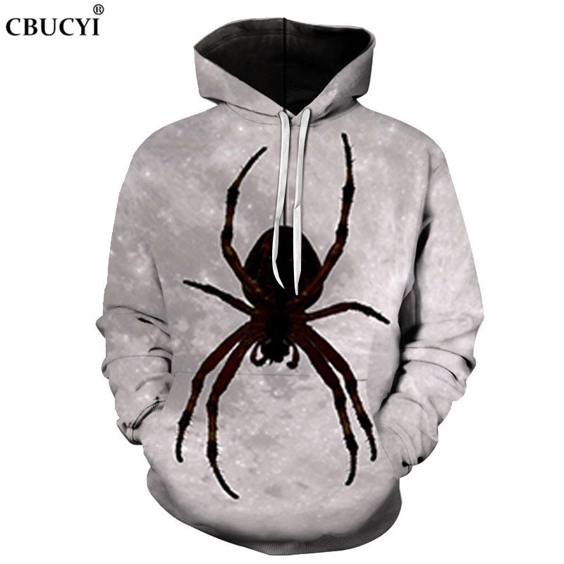 Spider print 3D printing men's streetwear hoodie men and women pullover autumn and winter fashion casual hip hop funny hood 6XL