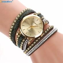 Milky Women Crystal Rivet Bracelet Quartz Braided Winding Wrap WristWatch women's watches Reloj de mujer DEC21