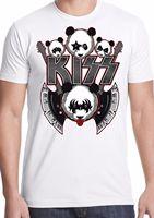 Kiss t shirt panda rock and roll metal guitar Simmons star man tee Cheap wholesale tees,100% Cotton For Man,T shirt printing
