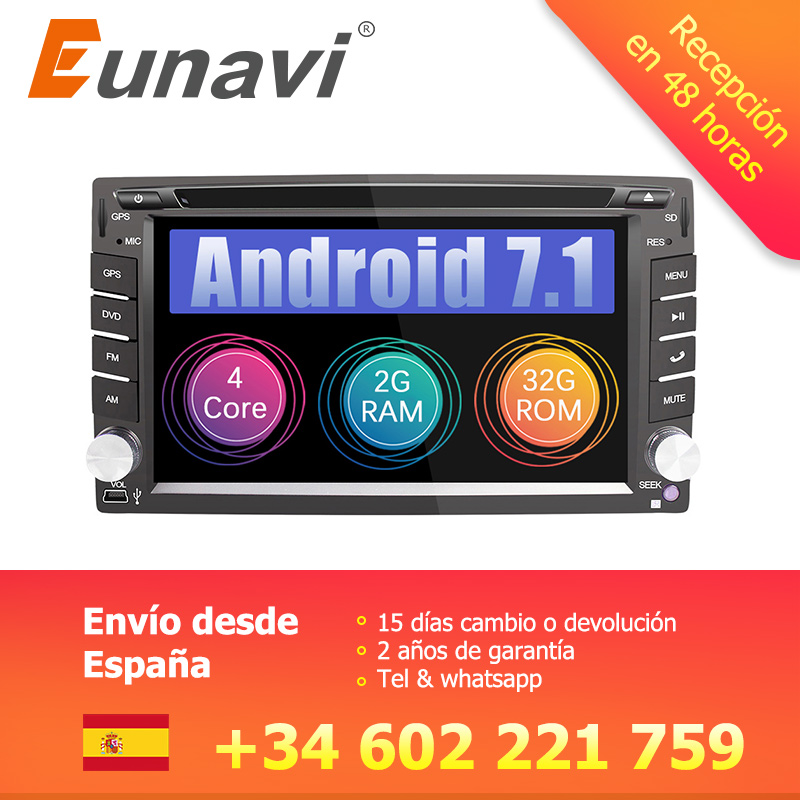 Eunavi Universal 2 Din Android 7.1 8.1 Car Dvd Player GPS+wifi+bluetooth+radio+quad Core+ddr3+Capacitive Touch Screen+car stereo