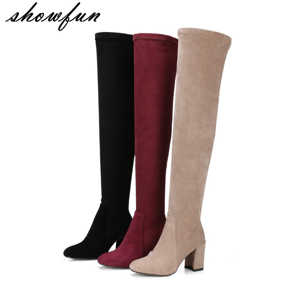 2017 Autumn Womens Genuine Suede Leather Stretch Over The Knee Boots Brand Design Thick High Heel Slim Ladies Long Boots Shoes