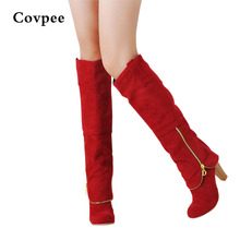 купить Hot Autumn and winter women Knee high boots Newest fashion ladies sexy high-leg zipper snow boots wholesale Free shipping по цене 1913.94 рублей