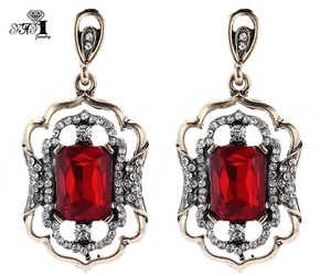 YaYi Jewelry New Red Glass Rhinestone Dangle Crystal Earring Women's Fashion Ancient Gold Color Gem Earrings Gift 1216(China)