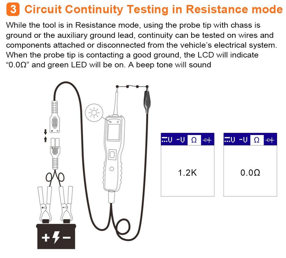 Ancel PB100 Car Circuit Tester Electronic System Multimeter AC DC ...