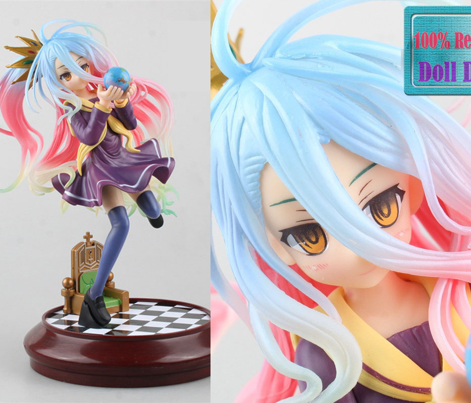 22CM Japanese anime Aquamarine No Game No Life characters Shiro action figure Model Toy collection kids toys for boys girls