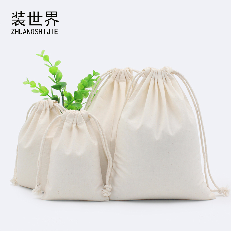 130g Natural Color Cotton Eco Drawstring Bag Packaging Gift Bag Custom Logo Printed Jewelry Bag Chri