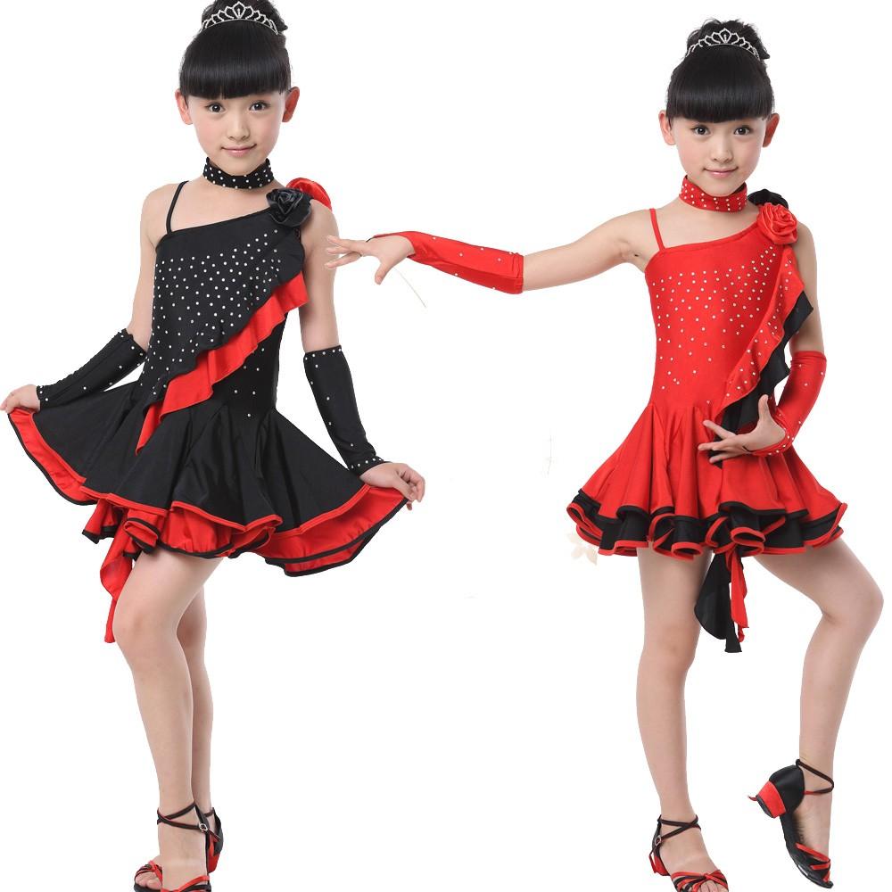 b34754deb Girls Sequined Latin Salsa Dancing Dress Kids Ballroom Competition ...