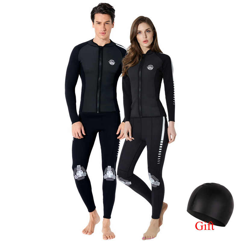 Çift mayo döküntü muhafızları 2mm neopren Wetsuit erkekler tüplü dalış ekipmanları şnorkel yüzmek sörf kıyafeti kadınlar yüzme banyo seti