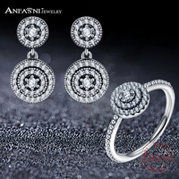ANFASNI 100 925 Sterling Silver Sets Radiant Elegance Silver Rings With Clear CZ For Women European