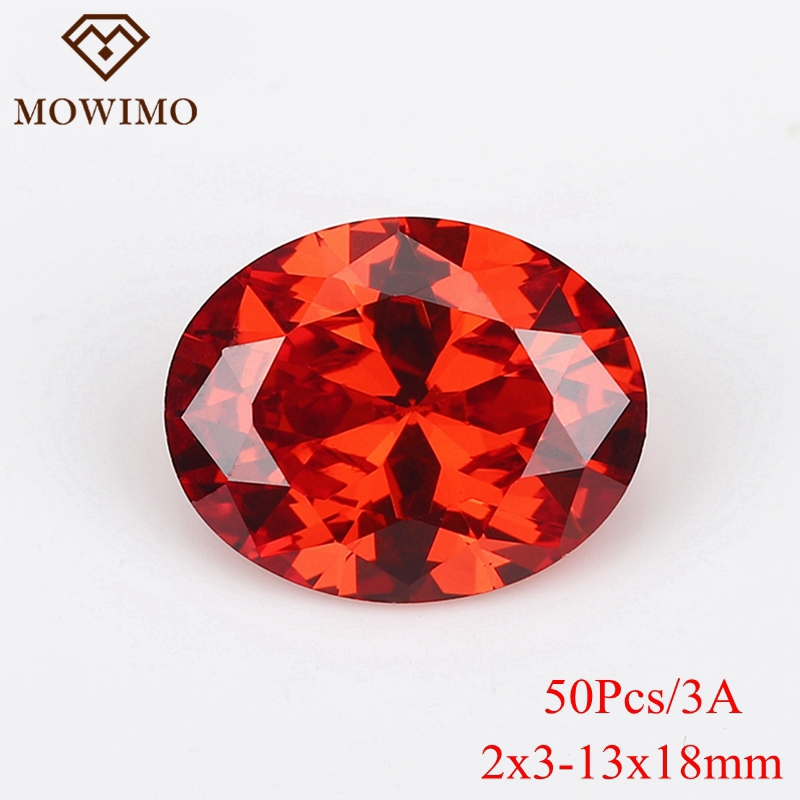 MOWIMO 50Pcs 2*3-13*18mm Hot Red Oval Stone Cut Synthetic Gems Cubic Zirconia Stone Loose CZ Stones For Necklace Choker Making