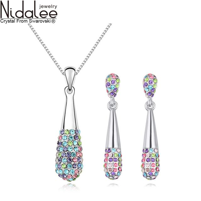 Marca 2017 novo cypress nidalee pequeno colar brincos para as mulheres conjuntos de jóias de moda de luxo cristal real do casamento swarovski