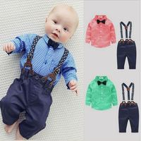 2017 Fashion Newborn Clothes Grid Shirt Suspender Long Sleeve Plaid Infant Baby Boy Clothes Bowknot Gentleman