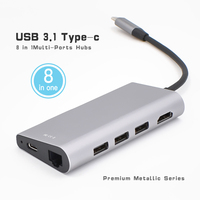 USB C Adapter Type C Multiport Adapter HDMI Output Gigabit Ethernet SD+Micro SD Card Ports 3 USB Ports for MacBook Pro Samsung