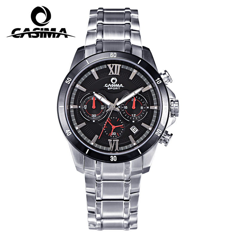CASIMA brand men's luxury fashion business quartz watches stainless steel waterproof sports chronograph luminous men watch Male men s watches top luxury brand fashion sports multi functional men quartz watch waterproof luminous casima 8103