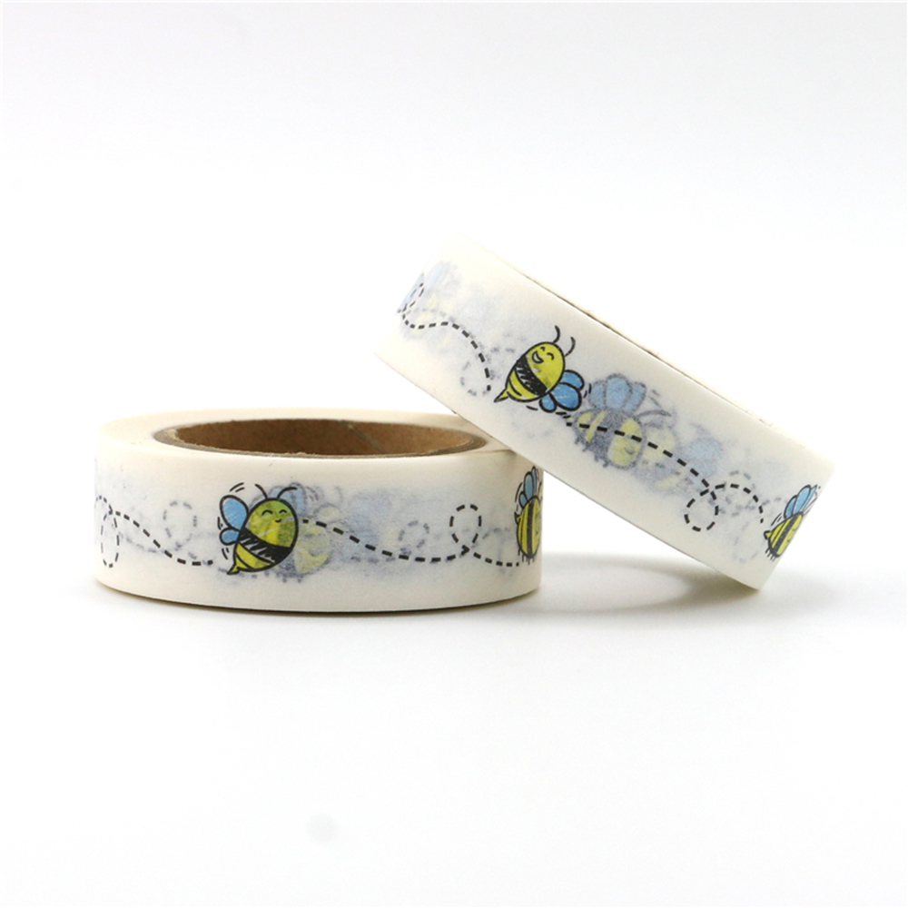 1 Roll Cute Decorative Bees Washi Tape DIY Scrapbooking Masking Animal Tape School Office Supply