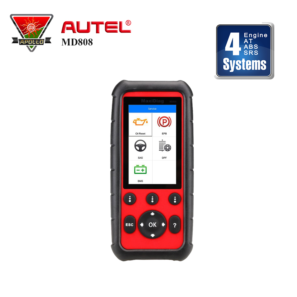 Autel MaxiDiag MD808 4 Systems Diagnostic Scan Tool OBD 2 Code Reader ABS SAS EPB Oil Reset upgrade of MD802