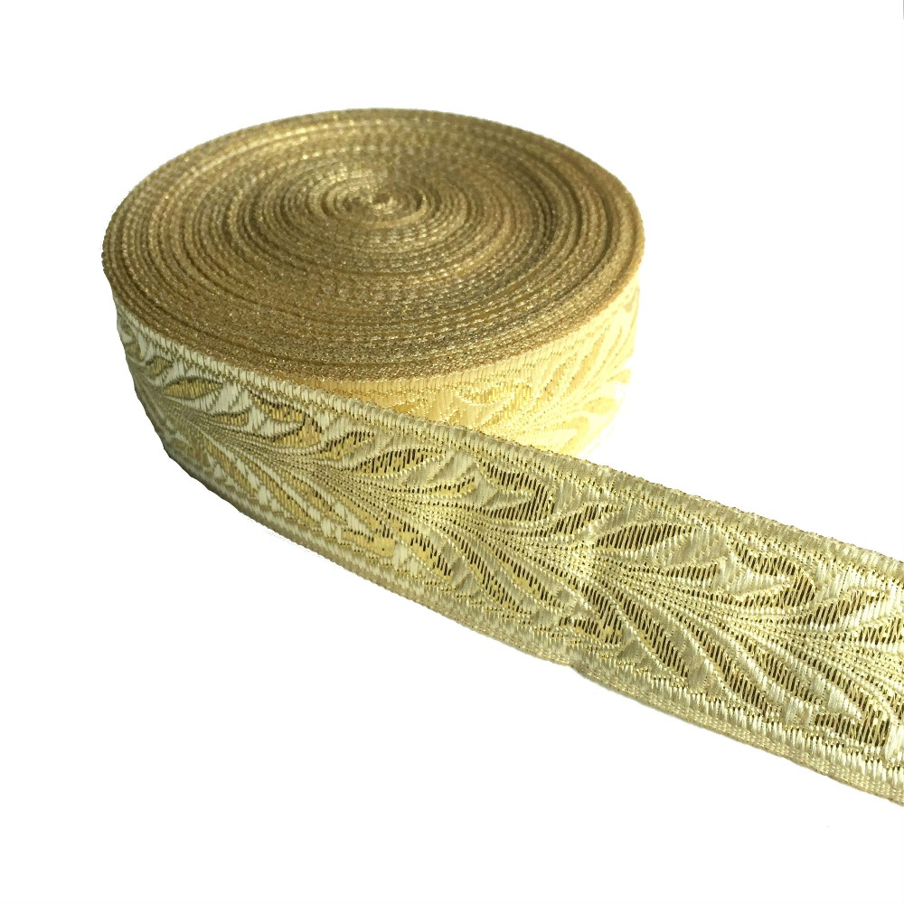 ZERZEEMOOY 1 Inch 25MM 10YARD/LOT Light Gold Leaf Design Jacquard Ribbon MZZD18122601