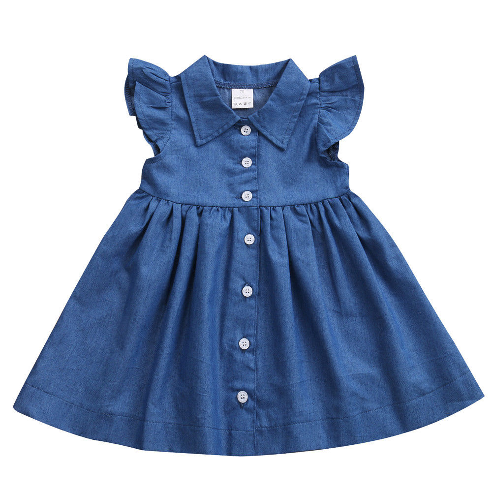 New Adorable Toddler Baby Kids Girl Princess Party Dress Summer Sleeveless Button Denim Sundress Clothes ems dhl free shipping toddler little girl s 2017 princess ruffles layers sleeveless lace dress summer style suspender