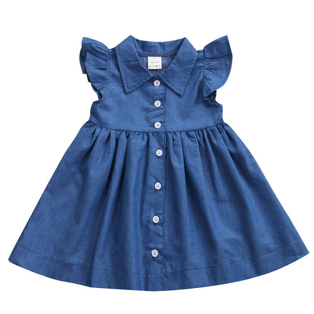 New Adorable Toddler Baby Kids Girl Princess Party Dress Summer Sleeveless Button Denim Sundress Clothes