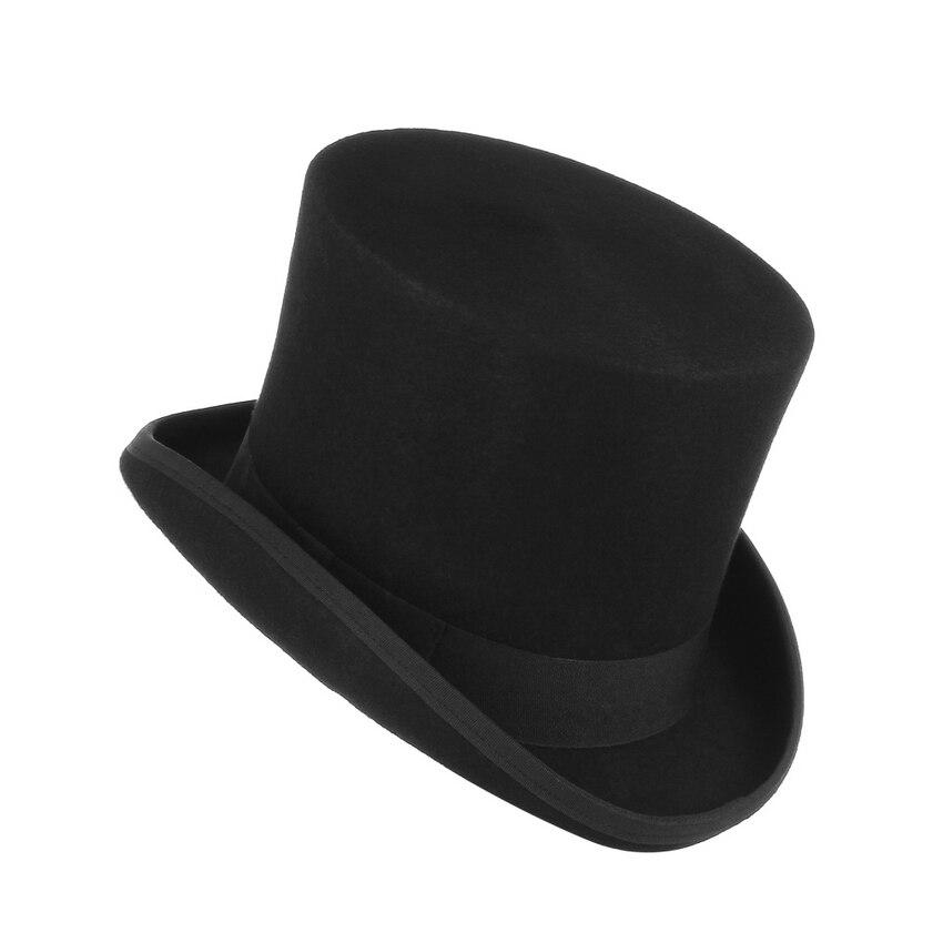 GEMVIE 17 cm Vintage sombrero para hombres de lana sombreros cilindro para las mujeres Sombrerero Loco plana Presidente fiesta Derby sombrero de mago tapa - 3