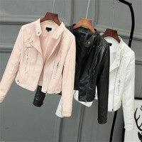 HLMFS white Faux Leather Jacket Women Spring 2019 Black Short Full Sleeve Zippers Ladies punk Basic Biker jacket Good Quality